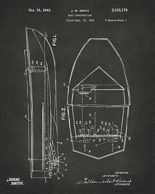 1943 Chris Craft Boat Patent Artwork - Gray Poster