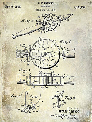 1943 Fishing Reel Patent Drawing Poster