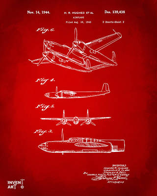1944 Howard Hughes Airplane Patent Artwork 2 Red Poster by Nikki Marie Smith