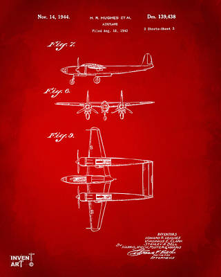 1944 Howard Hughes Airplane Patent Artwork 3 Red Poster by Nikki Marie Smith