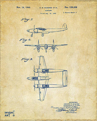 1944 Howard Hughes Airplane Patent Artwork 3 Vintage Poster by Nikki Marie Smith