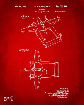 1944 Howard Hughes Airplane Patent Artwork Red Poster