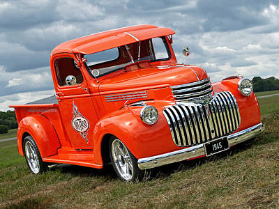 1945 Chevy In Orange Poster
