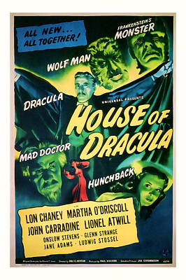 1945 House Of Dracula Vintage Movie Art Poster