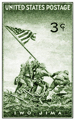 1945 Marines On Iwo Jima Stamp Poster