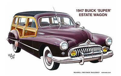1947 Buick Woodie Poster by Richard McCloskey