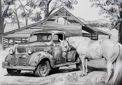 1947 Dodge Pick Up And Codi Poster by Carolyn Valcourt