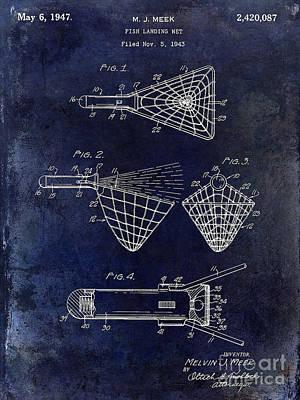 1947 Fishing Net Patent Drawing Blue Poster by Jon Neidert