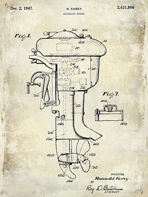 1947 Outboard Motor Patent Drawing Poster by Jon Neidert