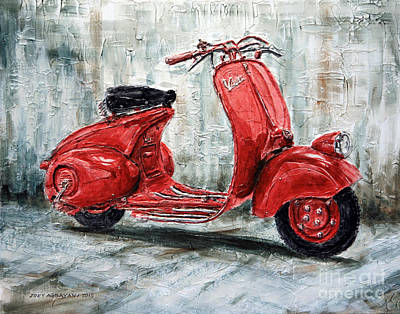 1947 Vespa 98 Scooter Poster