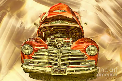 1948 Chev Red Gold Metal Art Poster by Lesa Fine
