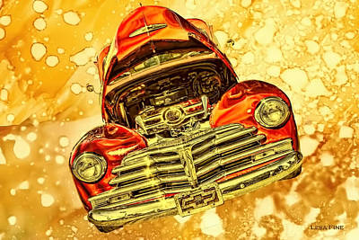 1948 Chevy Gold Acid Art Poster by Lesa Fine