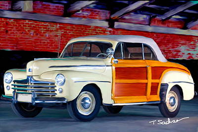 1948 Ford Super Delux Sportsman Convertible Woodie Poster by Tom Sachse