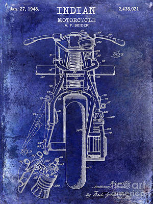 1948 Indian Motorcycle Patent Drawing Blue Poster by Jon Neidert