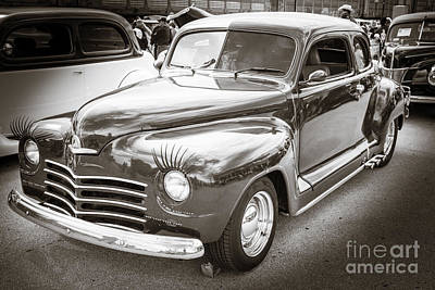 1948 Plymouth Classic Car Complete In Black And White Sepia 3386 Poster by M K  Miller
