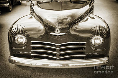1948 Plymouth Classic Car Front End In Black And White Sepia 338 Poster by M K  Miller