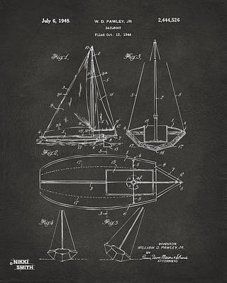 1948 Sailboat Patent Artwork - Gray Poster