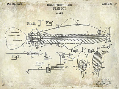 1949 Artificial Fish Lure Patent Drawing Blue Poster