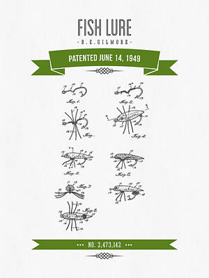 1949 Fish Lure Patent Drawing - Retro Green Poster by Aged Pixel