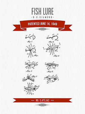1949 Fish Lure Patent Drawing - Retro Red Poster by Aged Pixel