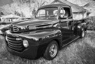 1949 Ford Pick Up Truck F1 Painted Bw      Poster by Rich Franco