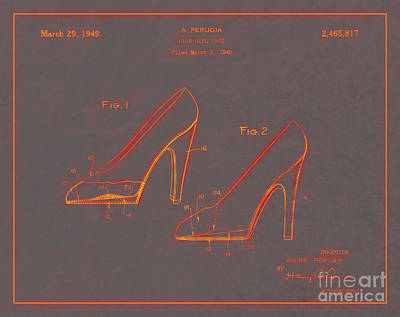 1949 High Heel Shoes Patent Andre Perugia 10 Poster by Nishanth Gopinathan