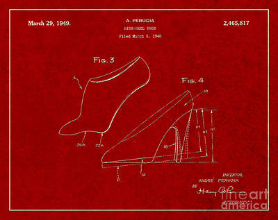 1949 High Heel Shoes Patent Andre Perugia 3 Poster by Nishanth Gopinathan