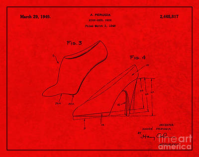 1949 High Heel Shoes Patent Andre Perugia 5 Poster by Nishanth Gopinathan