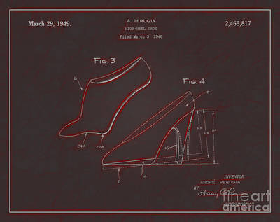 1949 High Heel Shoes Patent Andre Perugia 9 Poster by Nishanth Gopinathan