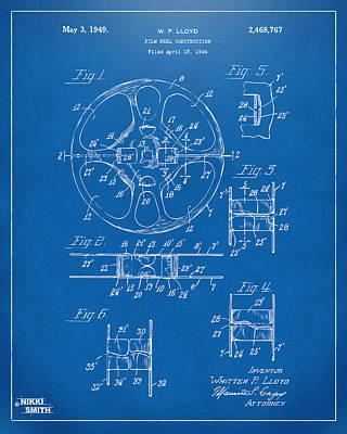 1949 Movie Film Reel Patent Artwork - Blueprint Poster by Nikki Marie Smith