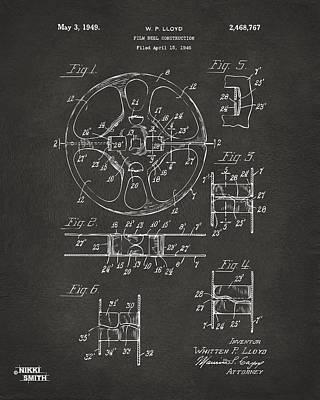 1949 Movie Film Reel Patent Artwork - Gray Poster by Nikki Marie Smith