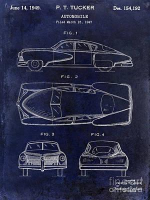 1949 Tucker Automobile Patent Drawing Blue Poster by Jon Neidert
