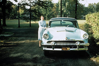 1950s 1955 Woman Standing Beside Car Poster