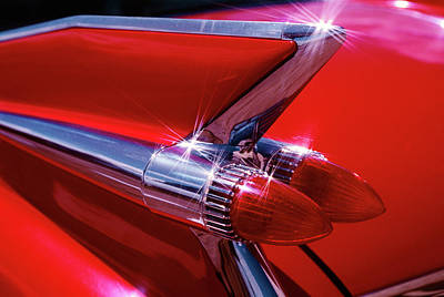 1950s 1959 Red Cadillac Car Fender Tail Poster