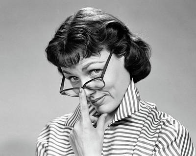 1950s 1960s Brunette Woman Wearing Eye Poster
