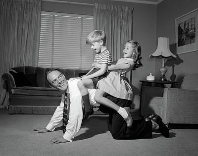 1950s 1960s Dad Carrying Boy & Girl Poster