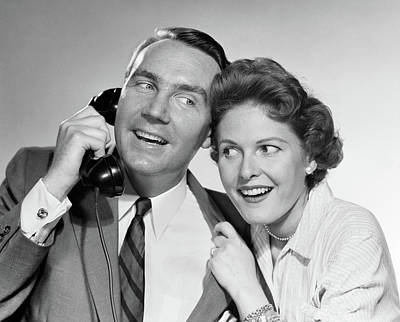 1950s 1960s Man Talking On Telephone Poster