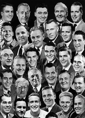 1950s 1960s Montage Of 29 Mens Heads Poster