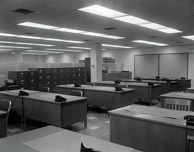 1950s 1960s Office With Desks Black Poster