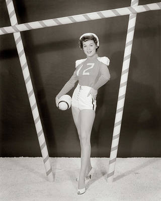 1950s 1960s Woman In Sexy Football Poster