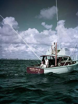 1950s 3 Men On Charter Fishing Boat Poster