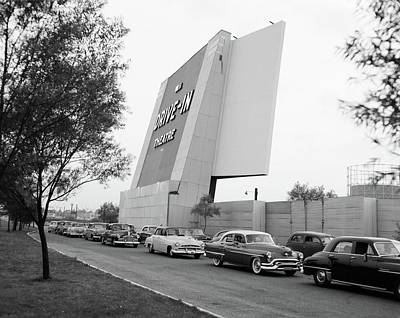1950s Automobiles In Line To Enter Poster