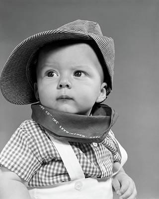 1950s Baby Head & Shoulders Wearing Poster