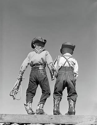 1950s Back View Of Two Boys Dressed Poster