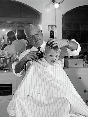 1950s Boy In Barbershop Getting Poster