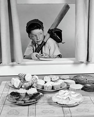 1950s Boy In Baseball Garb With Bat Poster
