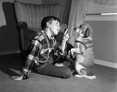 1950s Boy In Plaid Shirt Shaking Finger Poster