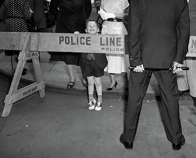 1950s Boy Looking Over Police Barricade Poster