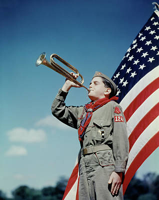 1950s Boy Scout Blowing Bugle In Front Poster