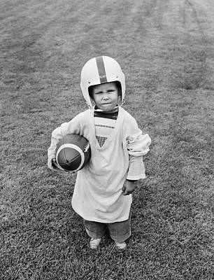 1950s Boy Standing In Grass Wearing Poster